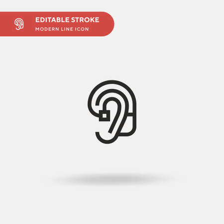 Hearing Aid Simple vector icon. Illustration symbol design template for web mobile UI element. Perfect color modern pictogram on editable stroke. Hearing Aid icons for your business project  イラスト・ベクター素材