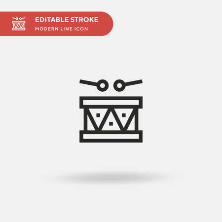 Drum Simple vector icon. Illustration symbol design template for web mobile UI element. Perfect color modern pictogram on editable stroke. Drum icons for your business project