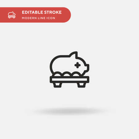 Pork Roast Simple vector icon. Illustration symbol design template for web mobile UI element. Perfect color modern pictogram on editable stroke. Pork Roast icons for your business project