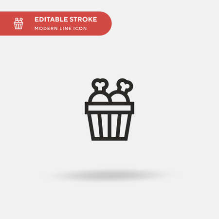 Chicken Bucket Simple vector icon. Illustration symbol design template for web mobile UI element. Perfect color modern pictogram on editable stroke. Chicken Bucket icons for your business project