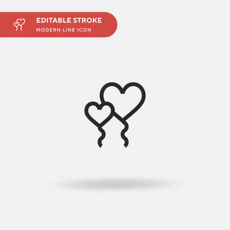 Heart Balloon Simple vector icon. Illustration symbol design template for web mobile UI element. Perfect color modern pictogram on editable stroke. Heart Balloon icons for your business project