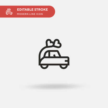 Wedding Car Simple vector icon. Illustration symbol design template for web mobile UI element. Perfect color modern pictogram on editable stroke. Wedding Car icons for your business project