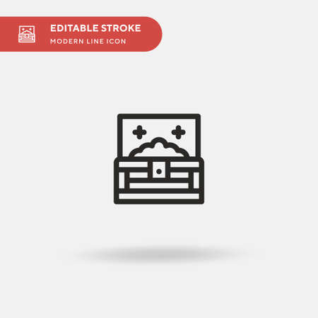 Treasure Chest Simple vector icon. Illustration symbol design template for web mobile UI element. Perfect color modern pictogram on editable stroke. Treasure Chest icons for your business project
