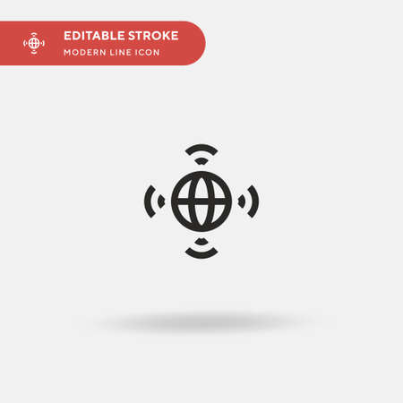 Worldwide Simple vector icon. Illustration symbol design template for web mobile UI element. Perfect color modern pictogram on editable stroke. Worldwide icons for your business project Ilustrace