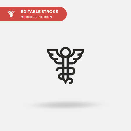 Caduceus Simple vector icon. Illustration symbol design template for web mobile UI element. Perfect color modern pictogram on editable stroke. Caduceus icons for your business project