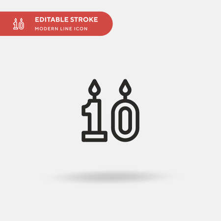 Birthday Candle Simple vector icon. Illustration symbol design template for web mobile UI element. Perfect color modern pictogram on editable stroke. Birthday Candle icons for your business project