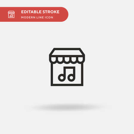 Music Store Simple vector icon. Illustration symbol design template for web mobile UI element. Perfect color modern pictogram on editable stroke. Music Store icons for your business project