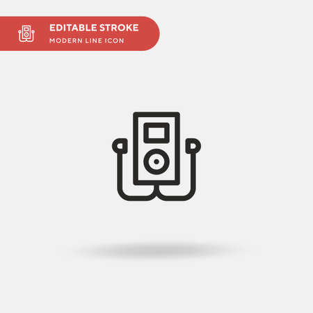 Music Player Simple vector icon. Illustration symbol design template for web mobile UI element. Perfect color modern pictogram on editable stroke. Music Player icons for your business project