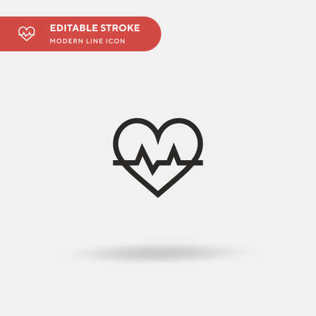 Heartbeat Simple vector icon. Illustration symbol design template for web mobile UI element. Perfect color modern pictogram on editable stroke. Heartbeat icons for your business project