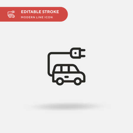 Electric Car Simple vector icon. Illustration symbol design template for web mobile UI element. Perfect color modern pictogram on editable stroke. Electric Car icons for your business project