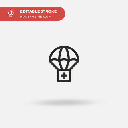 Parachute Simple vector icon. Illustration symbol design template for web mobile UI element. Perfect color modern pictogram on editable stroke. Parachute icons for your business project Çizim