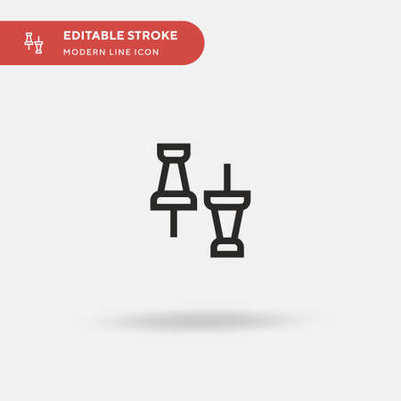 Push Pin Simple vector icon. Illustration symbol design template for web mobile UI element. Perfect color modern pictogram on editable stroke. Push Pin icons for your business project 版權商用圖片 - 154427318