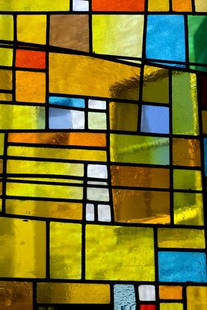 glass block: Multicolored  translucent stained glass pattern Stock Photo