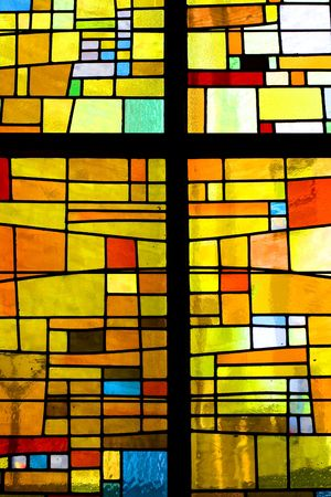 glass block: Multicolored stained glass pattern with cross  Editorial