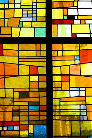 window church: Pattern di vetrate multicolori con Croce  Editoriali