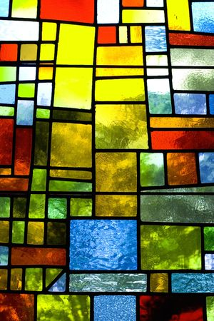 glass block: Multicolored translucent stained glass pattern