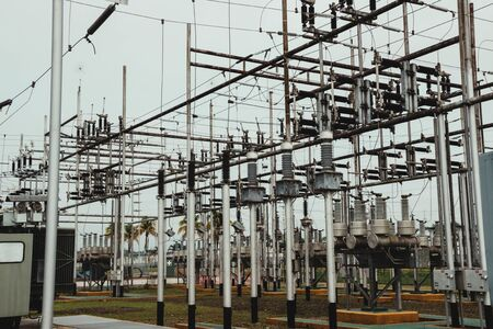 electrical towers, distribution centers, high voltage cables, high voltage areas.