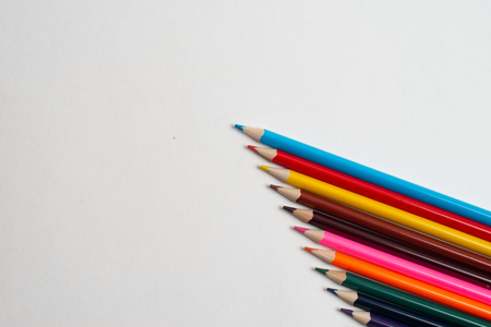 Colorful pencils on the white background, For kids drawing, Colors of pencils Foto de archivo