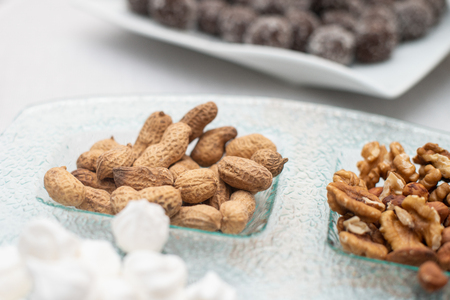 Sweet marshmallow, walnuts and nuts