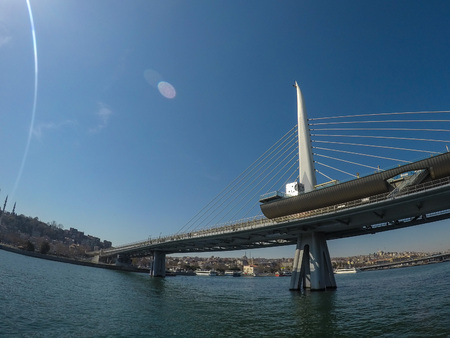 The First Bosporus Bridge connecting Europe and Asia in Istanbul Editorial