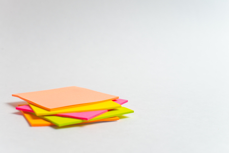 Message on paper with word Internet of Things on note stick on colorful book with laptop and a cup of coffee on glass table, top view image - Image, Many colorful note sticks