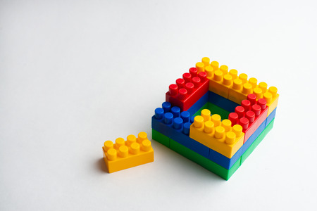 Kids development, Building blocks and construction Banque d'images - 123018487