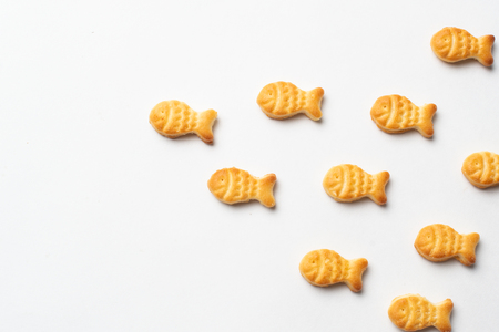 Salty Crackers In Shape Of Fish, fish salty biscuits