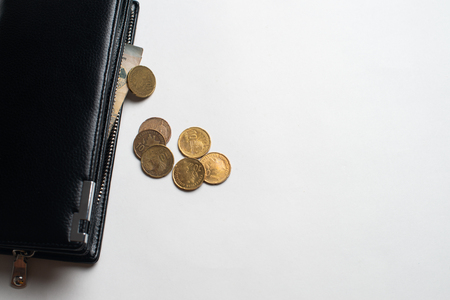 Leather wallet with metal coins