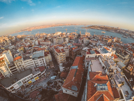 Sunset view to Istanbul city from Galata tower