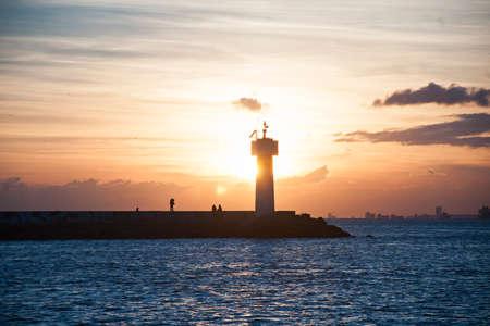 Lighthouse sunset in kadikoy istanbul