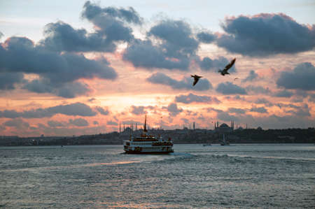 Red sunset clouds in istanbul bosphorus