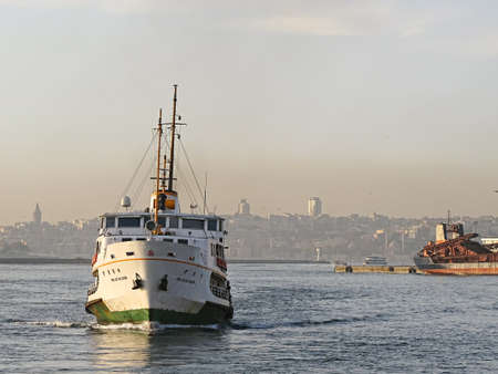 Passenger ferry at sunset in Bosphorus istanbul