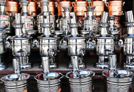 Turkish silver and copper teapots aka samovar in Amasya, Turkey