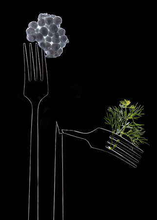 Luminous contours of whole and broken forks on black background. Opposition artificial and organic foodstuff. Prevalence of synthetic food over natural food. Space for text
