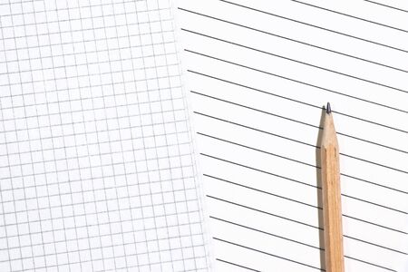 Close-up of empty pages in a cage and in a lined with pencil. The choice of the two options. Top view, copyspace