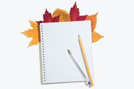 Spiral notebook in a cage with colorful autumn leaves. Pencil and pen on notepad. Isolated on white. Top view, copyspace 版權商用圖片