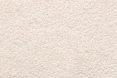 Beige background wool texture, sheep fluffy warm fur. Carpet of artificial factory fabric material, fake wool lumps. Tender furry surface Imagens
