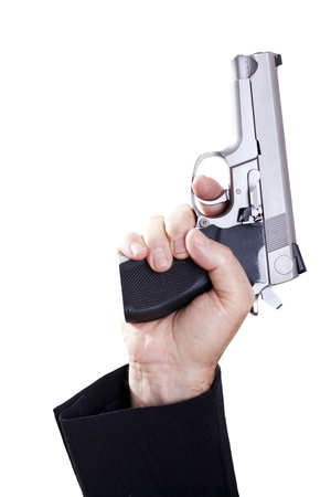 gangster with gun: A mature adult man wearing a suit, holding a 9mm gun with his right hand, aiming it upwards. Isolated on white background. Stock Photo