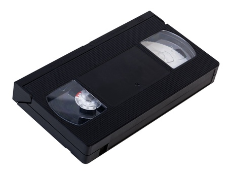 vhs videotape: A blank black VHS videotape isolated on white background. Clipping path included.