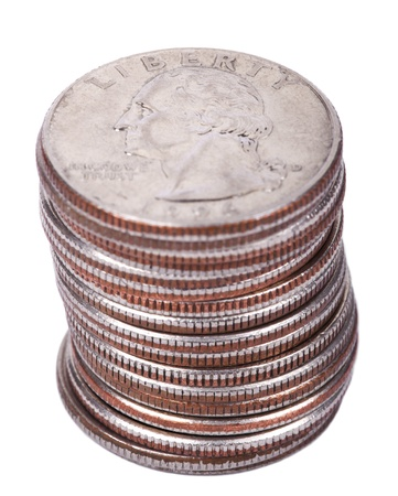 A stack of 25 US cent (quarter) coins isolated on white background. George Washingtons portrait is depicted on the coin. photo