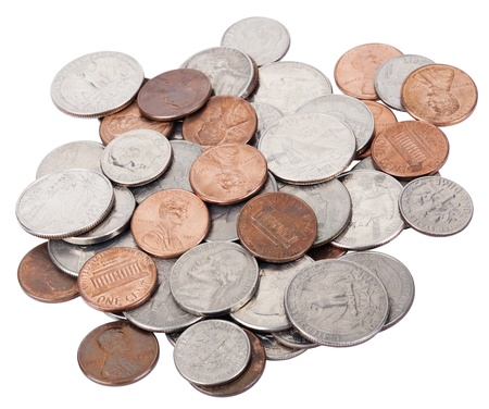 A pile of various American coins (quarters, dimes, nickels, pennies) isolated on white background.