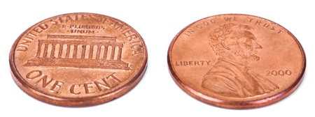 Two sides of a USA 1 cent (penny) coin.  This is the version of the penny that was produced between the years 1959-2008, depicting the Lincoln memorial. Stock Photo