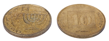 Two sides of an Israeli 10 Agorot (Singular: Agora - the equivalent of cent) coin. The obverse depicts a replica of a coin issued by Mattathias Antigonus (37 � 40 B.C.E.) with the seven-branched candelabrum, the state emblem, Israel in Hebrew, Arabic an photo