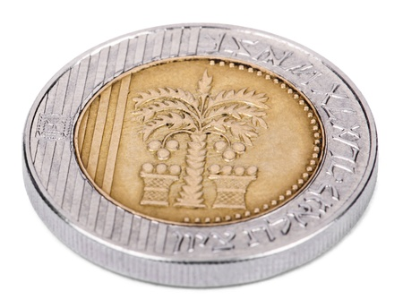 The obverse side of an Israeli 10 Shekels (Singular: Shekel) coin Stock Photo