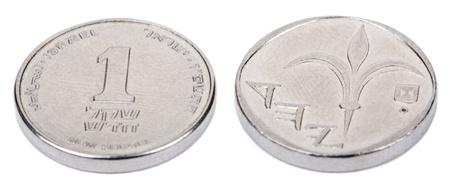 singular: Two sides of an Israeli 5 Shekels (Singular: Shekel) coin. Stock Photo