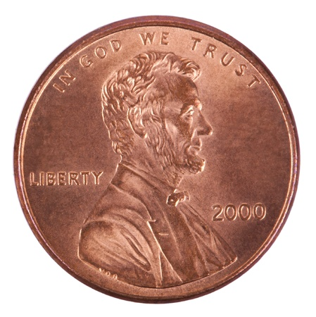 cent: The obverse side of a USA 1 cent (penny) coin.  This is the version of the penny that was produced between the years 1959-2008, depicting Abraham Lincolns portrait. Isolated on white background.