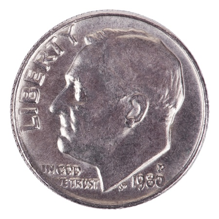 The obverse side of a USA 10 cents (Dime) coin, depicting presidents Franklin D. Roosevelt profile portait. Isolated on white background. Stock Photo