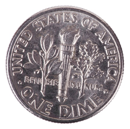 dime: The reverse side of a USA 10 cents (Dime) coin Stock Photo