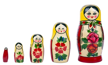 Russian nesting dolls (babushka  matryoshka) isolated on white background. photo