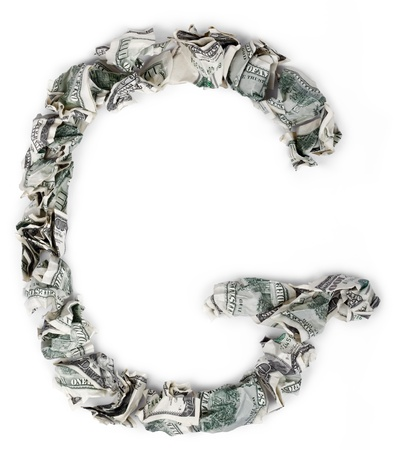 crimped: The letter G, made out of crimped 100$ bills. Isolated on white background.